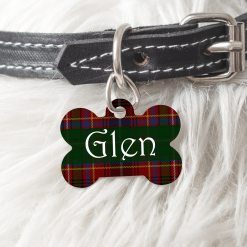 Personalised Dog Cat Pet ID Tag Double sided Tartan Dog Tag