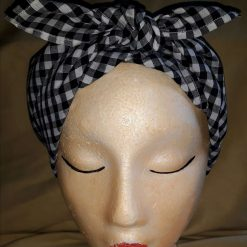 Gingham hair scarf