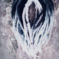Handmade synthetic dreadlocks black white