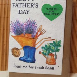 Zero Waste Happy Father's Day Card Seeded Seed Plantable Grow Basil Herbs Eco Friendly Tree Free Dad Daddy Father Fathers Day