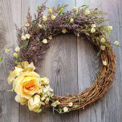 Beautiful hand made artificial silk flowered door wreath