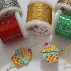 Needle Minder and Needle Threader - Wooden Cupcake style Set (R&Y)