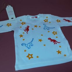 Organic cotton long sleeve baby too with  handprinted dinosaur design 12-18 months