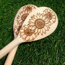 Sunflower wooden spoon