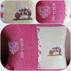 Handmade embroidered cushion.  Relax