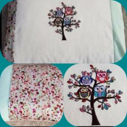 Handmade embroidered cushion.  Owls