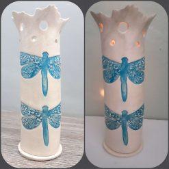 Ceramic Dragonfly Candle Holder