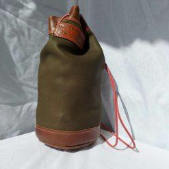 Dark Green holdall. Leather drawstring rucksack.  Backpack