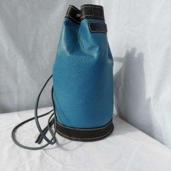 Blue and black holdall. Leather drawstring rucksack.  Backpack