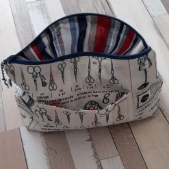 Fabric makeup/toiletries/sewing bag. French couture print