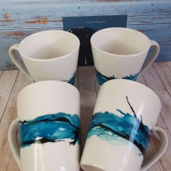 Hand painted Porcelain Mugs - Turquoise Delight