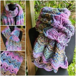 Handmade crocheted scarf. Vintage ripple