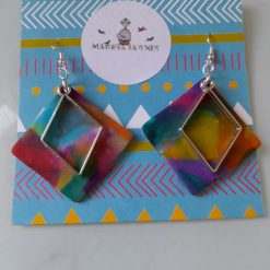 Colourful square polymer clay earrings
