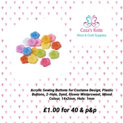Acrylic Flower Buttons 14mm - 40 per bag