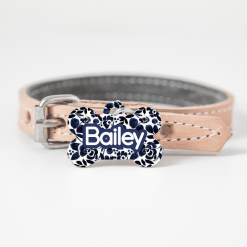 Personalised Dog Cat Pet ID Tag Double sided Blue Floral Dog Tag