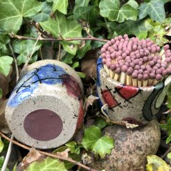 Heart and abstract  design match pots