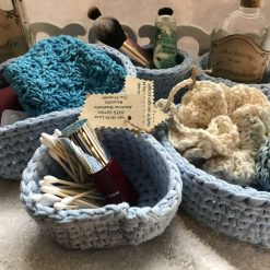 New 100% recycled Cotton Handmade Crocheted Set of 5 Baby Blue Make Up/Bathroom Storage Baskets/Pots