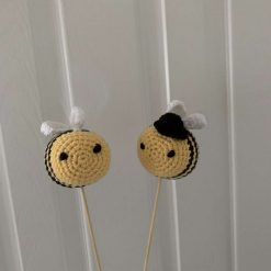Bride and Groom Crochet Bee Cake Topper/Decoration