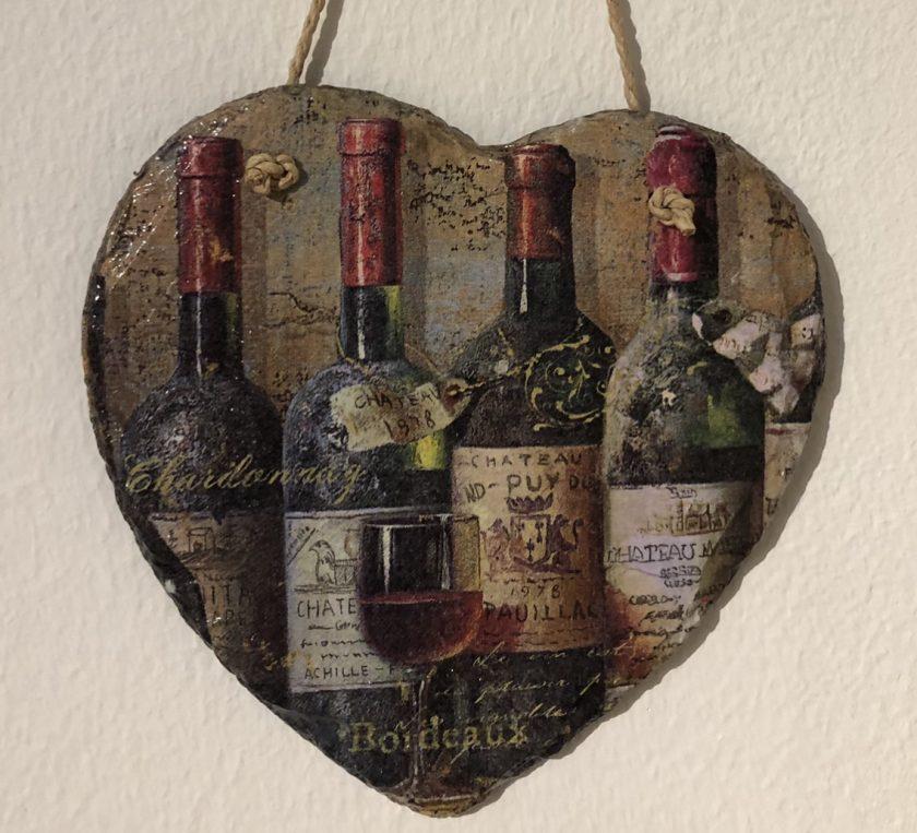 Wine slate heart