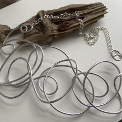 Big, Bold, Beautiful Designer Silver Aluminium Wire Necklace