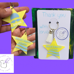 Double sided personalised keyring, Sports Keyring, Bag tag, Acrylic star with tassel, Sports Bag Charm