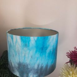 Hand Dyed Batik Fabric Ocean Breeze Blue Drum Lampshade, Champagne lining