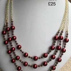 A235 Red Pearl multi strand necklace