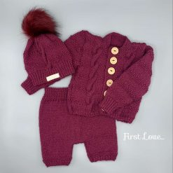 Deep Red Hand Knitted Baby Outfit