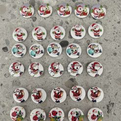 Wooden Santa Claus Buttons Set of 30