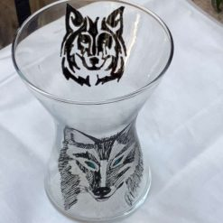 Glass painted Wolf