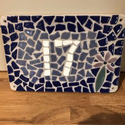 Beautiful mosaic house number plaque