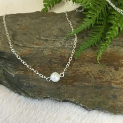 Ivory Single Pearl Chain necklace Silver