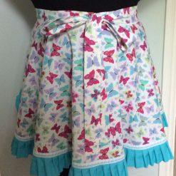 Half skirt adult vintage style apron & matching handy hanging pocket