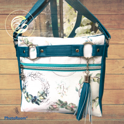 Camo roses canvas, airforce blue faux leather backpack. Ladies handbag.