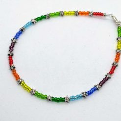 Rainbow and stars beaded anklet