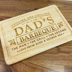 Personalised Wood Engraved 'Dad's Barbeque' Wooden BBQ Chopping Board - Ideal for Happy Father's Day Gift / Present