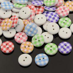Wooden Tartan Buttons 15mm - 40 per bag