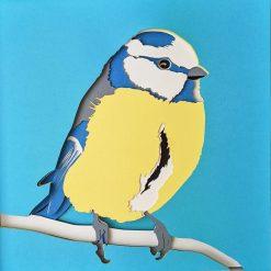 Blue Tit Papercut layered art