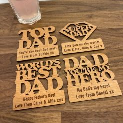 Personalised Oak 4 x Coaster Set - Top Dad, Super Dad, My Hero & World's Best Dad - Ideal for Father's Day!