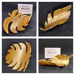 Jewellery storage - Gold clay leaf trinket dish