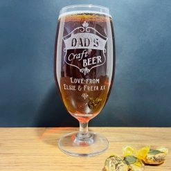 Personalised Engraved Craft Beer / Ale Stemmed Glass - Ideal present for Dad for Father's Day!
