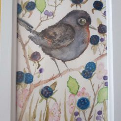 """🌼Framed Original Watercolour """" Bird & Berries 3"""" 🐦"""