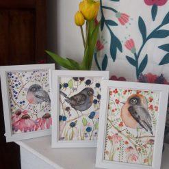 """🌼🍒3 Framed Original Watercolour """" Bird & Berries 3"""" 🐦🍇"""