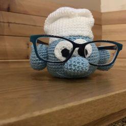 Handmade Crochet Papa Smurf Novelty Glasses Holder