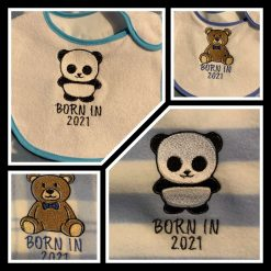 Embroidered Baby Blanket and Bib Set Blue or Pink
