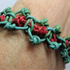 Green and pink leather thong bracelet in 4 sizes