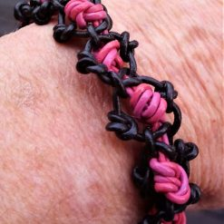 Black and pink leather bracelet