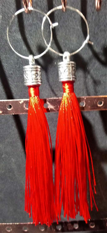 Tassel and stainless steel hoop earrings with large Tibetan silver fittings