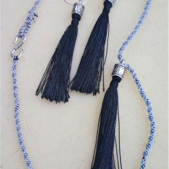 Black and silver tassel hoop earrings and pendant with Tibetan silver fittings and macrame chain