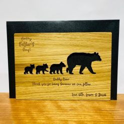 Personalised Oak Engraved Wooden Card - Daddy Bear 'Happy Father's Day' in Oak, Walnut or Cherry